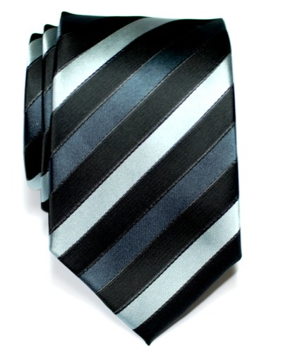 Corbata de microfibra a rayas tricolor para hombres de Retreez - Negro y gris