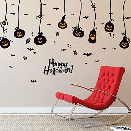 JKLKL 4 Blätter Halloween Kreative Kürbis Licht Dekoration Wandaufkleber, Entfernbare wasserdichte Aufkleber, Wohnzimmer Küche Kinder Schlafzimmer,60 * 90CM -