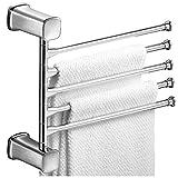 MYJTR Bad Selbstklebende handtuchhalter Raum aluminiumlegierung multifunktions verdickung rotierenden handtuchhalter hängen Regal (Farbe : Ivory White 2 Pole)