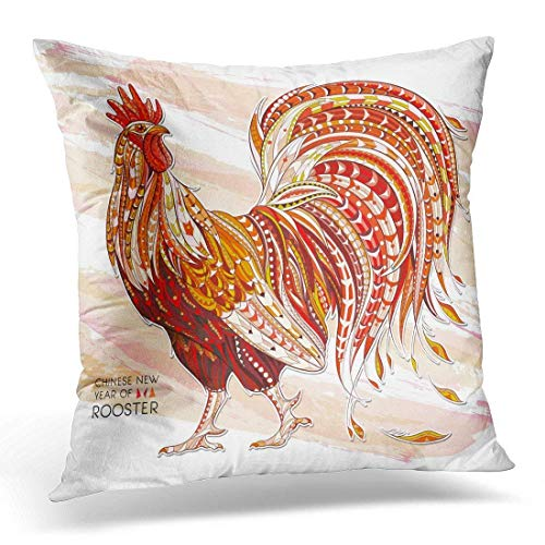 Patterned Fiery Rooster on The Symbol of Chinese New Year African Indian Totem Tattoo It May Be Bag Decorative Pillow Case Home Decor Square 18x18 Inches Pillowcase