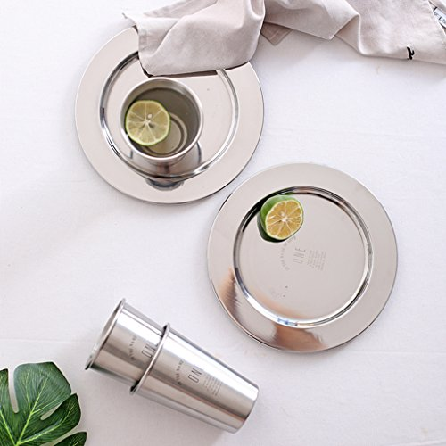 Sharplace 2pcs Edelstahl Tablett Round Plate Obstschale Servierteller Catering Tray Catering-tray