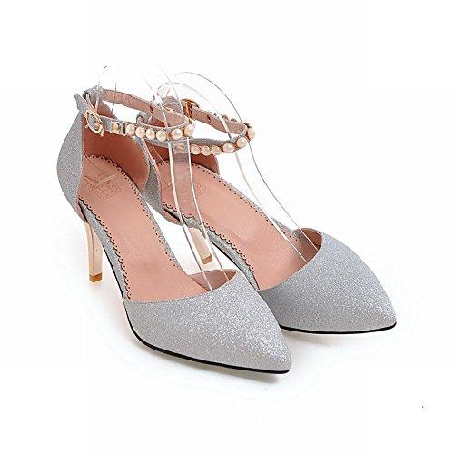 Senhoras Lantejoulas De De Tornozelo Stiletto Mee Prata Bombas Pulseira Sapatos FqTzwn1A56