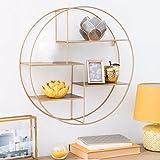 Nordic sala repisa estantería circular de hierro forjado decorativo, expositor,Golden