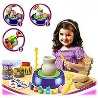Pottery-Wheel-Tpfer-Werkstatt-Premium-Tpferei-Set-Ton-Farben-Drehscheibe-viel-Zubehr-Bastelspiel-Tpferscheibe