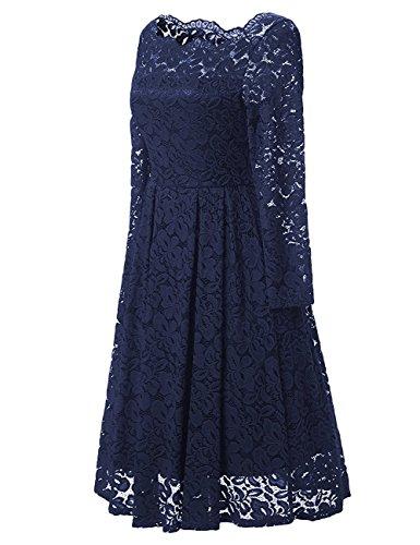 YesFashion Damen Kleid Spitzenkleid Abendkleid Partykleid Knielang A-Linie Blau