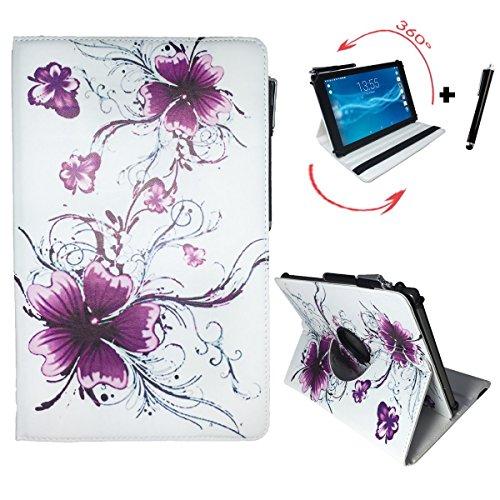 Amazon Fire HD 10 - (10.1) Zoll Drehbare Tablet Schutztasche mit Standfunktion + Touch Pen - 10 Zoll Lila Blumen 360°