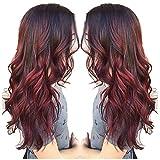 Moonuy Femmes Perruque Sexy Gradient Boucles Rouges Cheveux Parti Perruques Longues Cheveux Bouclés Couleurs Mixtes Perruque Synthétique 70 CM Pour Jeunes Femmes