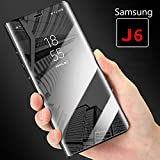 Cover for Samsung J6 - Mobistyle Smart View Semi Clear Mirror Flip with Luxury Stand Back Cover Case for Samsung Galaxy J6 (Black)