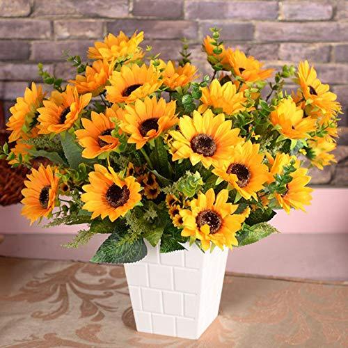 Blumenstrauß Künstliche Sonnenblume 12 Blüte Silk Blumen mit Grünen Blättern für Hochzeit Bridal Bouquet Party Garten Wand Dekoration 45 cm 1 Stück