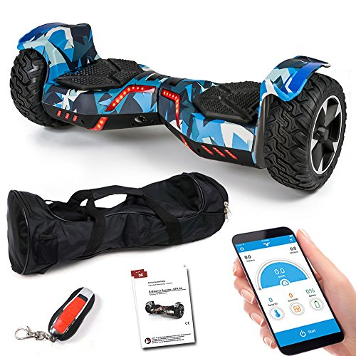 Viron Hoverboard 8,5 Zoll 800 W - SUV Ares GPX-04 mit App Funktion, Bluetooth Lautsprecher, Kinder Sicherheitsmodus, Self Elektro Balance Scooter (Camo/Blau)