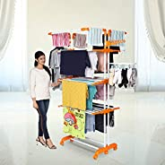 Happer Premium Double Supported 4 Layer Cloth Drying Stand with Thread Lock Mechanism and Breaking Wheels, Kin