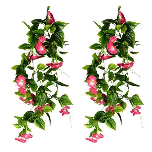 WINOMO 2STK künstliche Reben hängende grüne Pflanzen Silk Girlande Haus Garten Wand Zaun Treppenhaus im Freien Hochzeit hängen Körbe Dekor (Rose rot) (Wand-dekor Zaun)