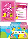 12 Einladungskarten zum 6. Kindergeburtstag incl. 12 Umschläge rosa / Einladungen zum sechsten Geburtstag / bunte Enladungskarten für Mädchen