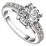 Meixao 925 Sterling Silver Cubic Zircon Crystal Anniversary Promise Engagement Ring Wedding Bridal Band
