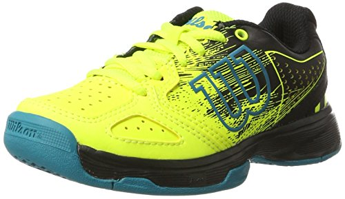 Wilson Tennisschuhe Kaos Comp Junior Safety, Gelb/Schwarz/Blau (Safety Yellow/Black/Enamel Blue), - Tennis-schuhe Große Kinder