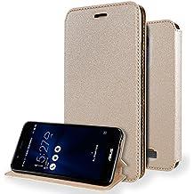 """Funda Asus Zenfone 3 Max 5.2 Flip Cover , ivencase Ultra-thin Prima Suave TPU Protector Stand Flip Silicona Tapa para Asus Zenfone 3 Max ZC520TL 5.2"""" Oro"""