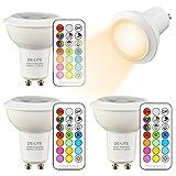 DE-LITE 3W GU10 LED-Farbwechsel Spot Licht mit Fernbedienung, RGB + warm Weiß (4-er Pack)