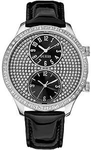 Guess - W10558L2 - Montre Femme - Cadran noir avec pierres - Bracelet en cuir noir