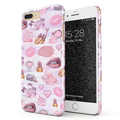 Glitbit Hülle Kompatibel mit iPhone 7 Plus / 8 Plus Makeup Junkie Glam Fab Girl Pink Queen Nail Polish Art Artist MUA Lip Lipstick Addict Dünn Robuste Rückschale aus Kunststoff Handyhülle Case Cover