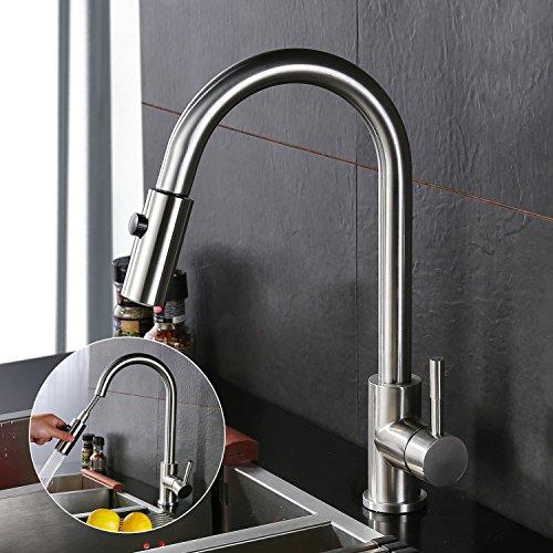 Homelody verchromt Spültischarmatur mit herausziehbarem /Ausziehbar Brause in matt Wasserhahn Armatur Waschbecken hoher Auslauf Einhebelmischer Wasserkran Küchenarmatur