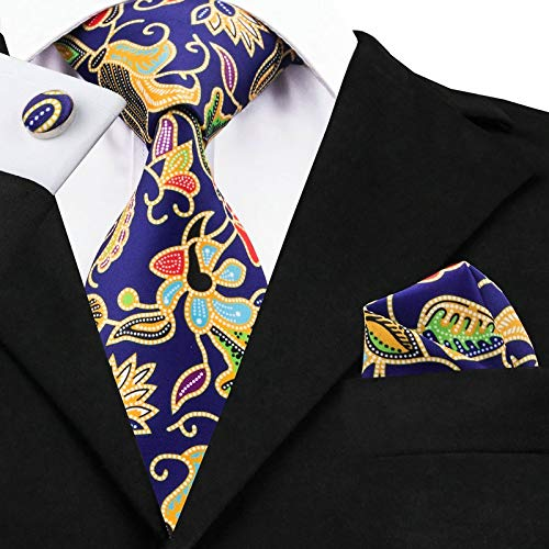 HYCZJH Tie Hanky Cufflinks Set Blue Floral Printed Ties for Business Wedding Groom Party
