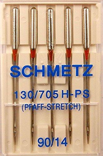 5 Schmetz Stretch (Pfaff Stretch) Nähmaschinen Nadeln Flachkolben 130/705 H-PS Stärke 90/14 - Pfaff Overlock Nähmaschinen