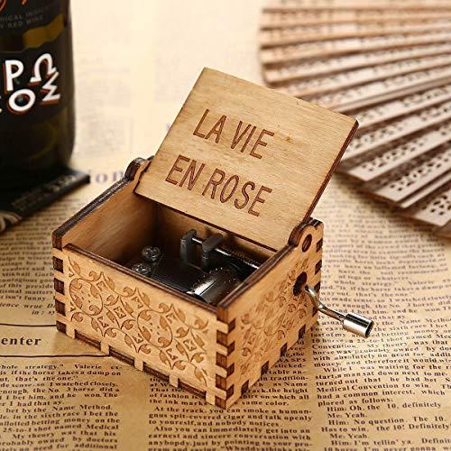 a 18 note Carillon in legno inciso a mano a manovella stile antico con sigla di Harry Potter