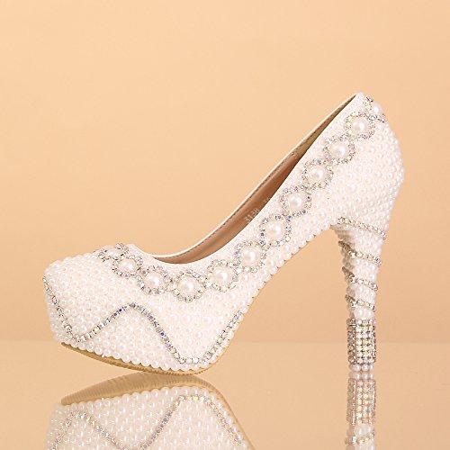 XIE Hochzeitsschuhe der Frauen / Prinzessin und Braut / einfache Perle / Stilett-Ferse / runde Spitze Wasserdichte Plattform / high-heeled Sandelholze / weiße Tanzschuhe 12CM