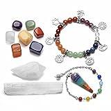 QGEM Ensemble Pendule Divinatoire,Bracelet Chakra,2pcs Quartz cristal de roche blanc,7pcs Chakras Pierres Méditation Guérison Reiki