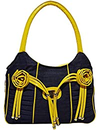 Angel & Rayon Lovey Fancy Stylish Handbag For Women, Ladies And Girls (Black, Yellow)