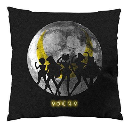 style3 Sailor Senshi Kissen mit Füllung 28 x 28 cm Baumwollbezug mond mondstein Moon Luna Mars Planet Anime, Farbe:Schwarz