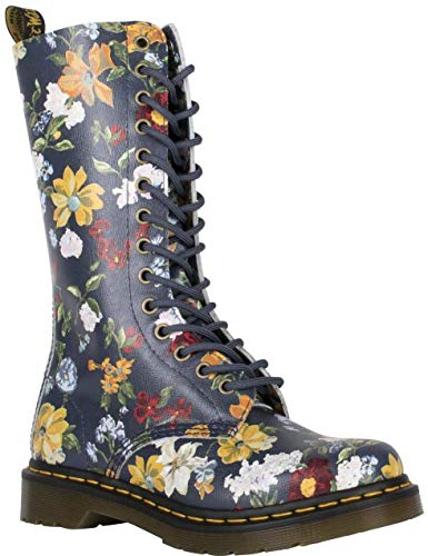 #Dr Martens 1B99 Navy Darcy Floral 14 Eyelets Leather Womens Boots