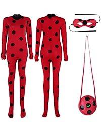 iiniim 3Pcs Traje de Disfraces Mariquita Mujer Halloween Cosply Role Leotardo Mono de Actuación Bodysuit Una
