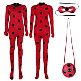 iEFiEL Disfraz de Mujer Jumpsuit Chica Costume Mono Body Romper 3PCS Cosplay Para Halloween Carnaval Rojo M