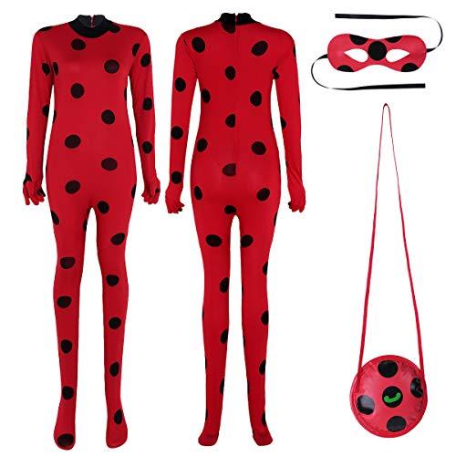 Alvivi 3Pcs Traje de Disfraces Mariquita Cosply Leotardo con Lunares Mono de Actuación Bodysuit de Una Pieza Conjunto Vestuario para Mujer Halloween Rojo Medium