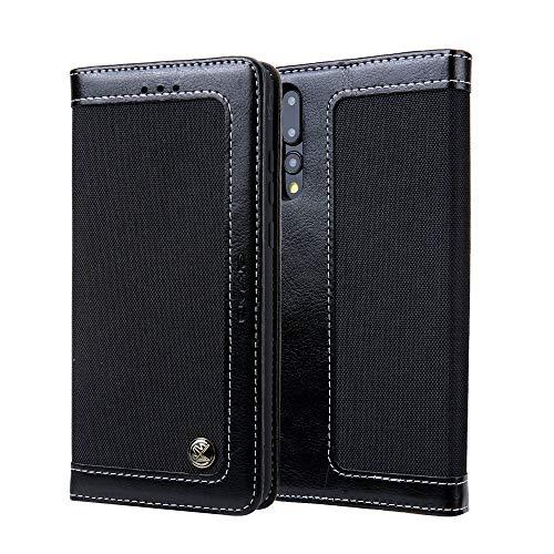 RZL Hüllen & Zubehör Für Huawei P20 Pro, [Denim Leinwand + PU Leder] Original Premium Flip Folio Wallet Case Cover (Farbe : Schwarz) Farbe Flip Case