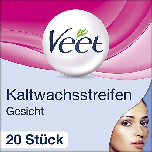 Veet Kaltwachsstreifen mit Easy-Gelwax Technology - Für das Gesicht - Geeignet für sensible Haut - Bis zu 28 Tage glatte Haut - 10 x Doppelstreifen -