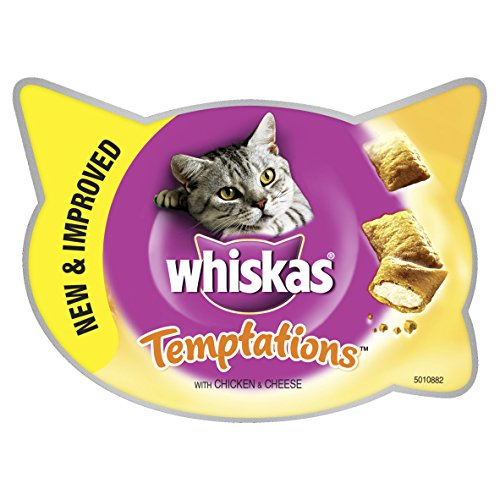 WHISKAS Temptations Cat Treats with Chicken and Cheese - 60 g, Pack of 8