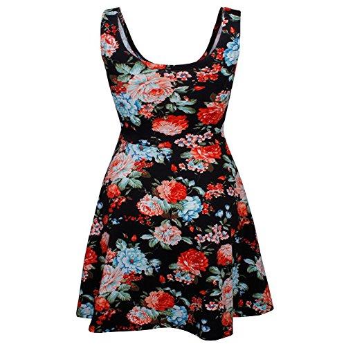 Minetom Donna Estivi Vestito da Spiaggia Stampato Floreale Vintage Senza Maniche da Polka Dotata di Swing Dress Nero