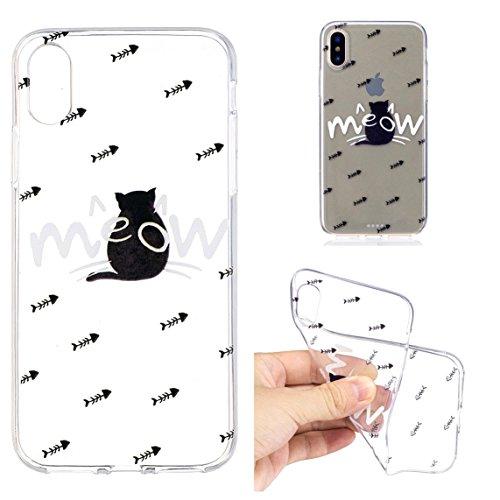 Apple X Hülle, Voguecase Silikon Schutzhülle / Case / Cover / Hülle / TPU Gel Skin für Apple iPhone X(Bananenblätter) + Gratis Universal Eingabestift Die Katze ist zurück