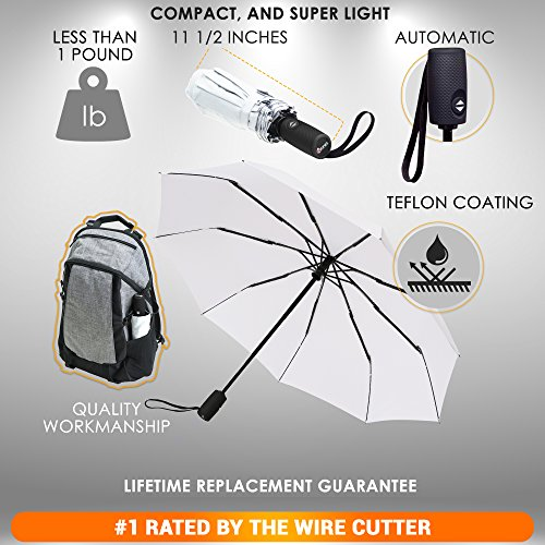 "Lightweight ""Dupont Teflon"" Travel Umbrella, Virtually Indestructible Windproof Canopy, **Lifetime Replacement Guarantee**, Automatic Open/Close For One Handed Operation, Slip-Proof Handle for Easy Carrying By Repel (White)"