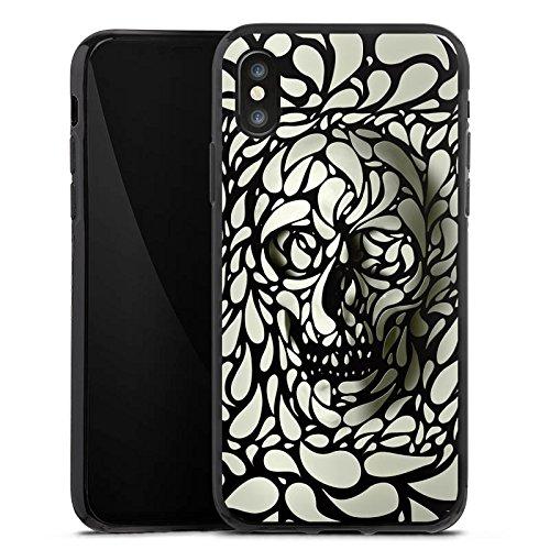 Apple iPhone X Silikon Hülle Case Schutzhülle Deep Skull Totenkopf Schädel Silikon Case schwarz