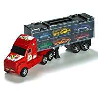 "Prextex 15"" Carrier Truck Toy Car Transporter Includes 6 Metal Cars Toy For Boys Great For Boys"
