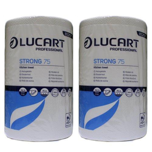 2x Lucart Professional 'Strong 75' Maxi Küchenrolle entspricht 16 herkömmlichen Küchenrollen, Haushaltsrolle XXL 300 Blatt ...