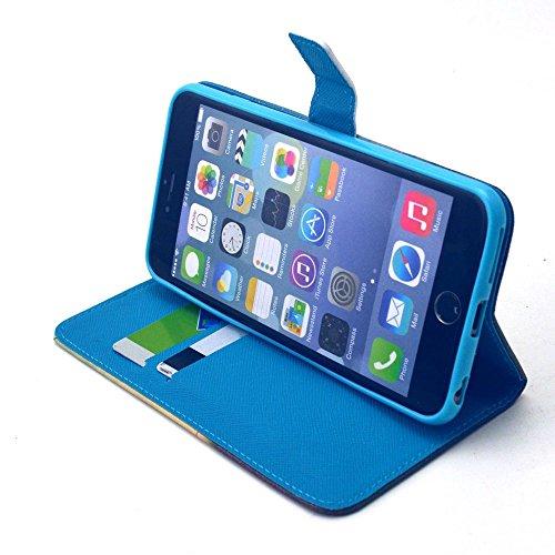[A4E] Handyhülle passend für Apple iPhone 6 Plus (6 Plus;6S Plus) Kunstleder Tasche, seitlicher Magnetverschluss mit Comic / Cartoon / Graffiti Design (weiß, schwarz, blau, rosa) YOLO - the best is yet...