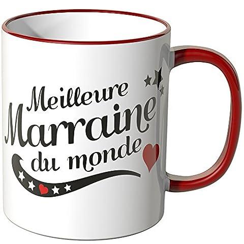 "Wandkings Tasse, message ""Meilleure Marraine du monde"" - ROUGE"
