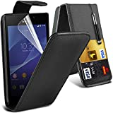 (Black) Sony Experia M2 Case Brand New Protective 3 Slots Credit / Debit Card Leather Flip Cover Including Retractable Touch Screen Stylus Pen & LCD Touch Screen Protector Guard By Fone-Case