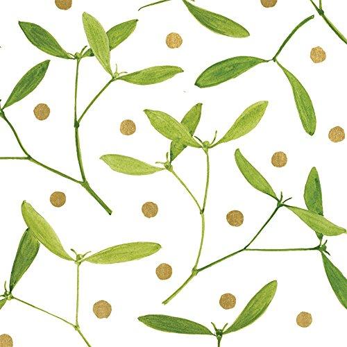 Caspari Serviettes de table en fibres Airlaid Blanc Mistletoe - Lot de 15 serviettes en papier mais Sensation Tissu...
