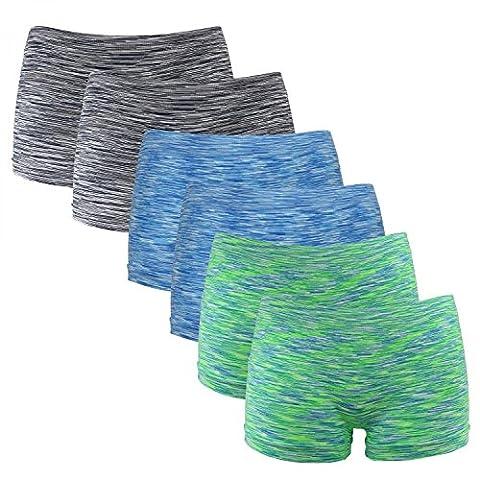 6er Pack Seamless Damen Panties Hipsters Boxershorts Perfekter Sitz sechs Farben, Farbe:Neon Grün/Blau/Schwarz, Größe:34