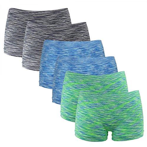 Fabio Farini 6er-Pack Damen Seamless Panties Hipsters Boxershorts aus weichem Microfaser-Gewebe, Farbe: Neon Grün/Blau/Schwarz, Größe: 34/XS - Grün Panty Kurz